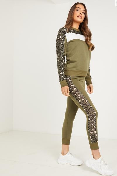 Khaki Leopard Print Stripe Leggings
